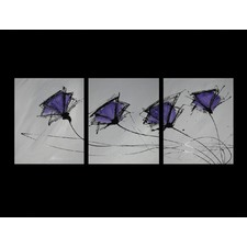 3 Piece Abstract Poppies Canvas Painting in Grey and Purple