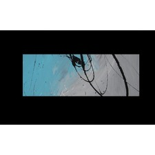 Abstract Canvas Painting in Grey and Turquoise