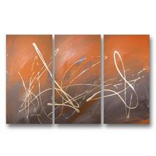 Heated Flourish Abstract Triptych Wall Art