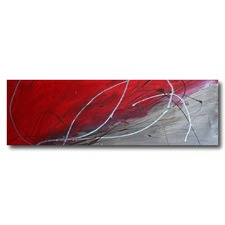 Abstract Canvas Painting in Red and Silver