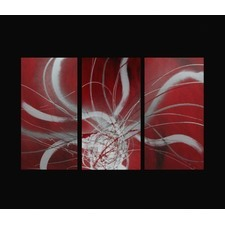 3 Piece Abstract Canvas Painting in Red and White