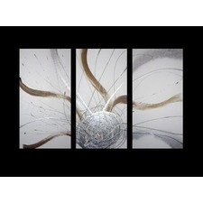 3 Piece Abstract Canvas Painting in Silver and Brown