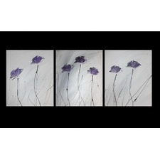 3 Piece Abstract Poppies Canvas Painting in Grey / Purple