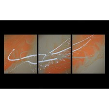 3 Piece Abstract Canvas Painting in Caramel