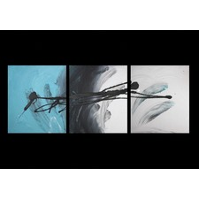3 Piece Abstract Canvas Painting in Turquoise and Black