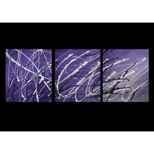 3 Piece Abstract Canvas Painting in Purple