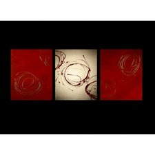 3 Piece Abstract Canvas Painting in Red and Gold