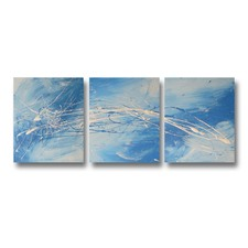 3 Piece Abstract Canvas Painting in Turquoise and Blue