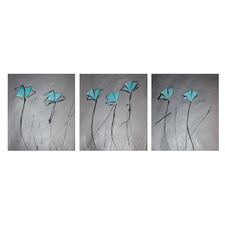 3 Piece Abstract Canvas Painting in Grey and Turquoise