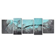 5 Piece Abstract Canvas Painting in Turquoise and Grey