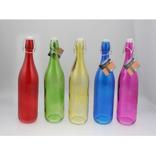 1 Litre Glass Bottle with Clasp Seal Lid (Set of 5)