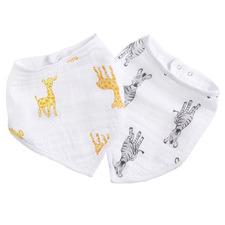 Aden & Anais 2 Piece Safari Babes Cotton Muslin Bandana Bib Set
