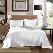 White Striped Chambray 1200TC Cotton Sheet Set