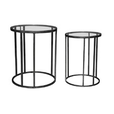 Iron Round Rustic Black Tables (Set of 2)