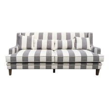 Grey/Cream Wide Stripe 3 Seat Sofa
