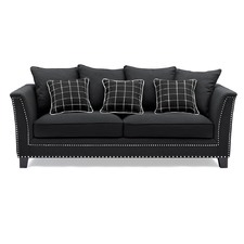 Black 3 Seat Sofa with Checked Cushions