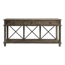 Timber 3 Draw Console with Metal Crossbars