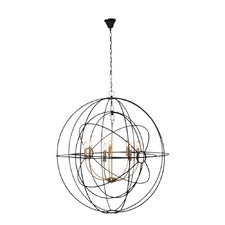 Iron Orb Pendant In Black Brass Finish