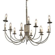 16 Arm Taupe Metal Chandelier
