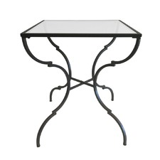 Iron Square Side Table With Glass Top