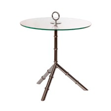 Nickel & Glass Side Table With Ring Top