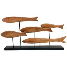 Mango Wood School of Fish on Iron Stand