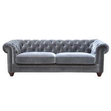 Light Grey Velvet Dean 3 Seater Sofa