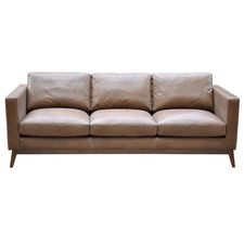 Tan Leather Kaitlyn 3 Seater Sofa