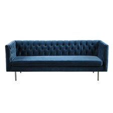Navy Grace Velvet 3 Seater Sofa