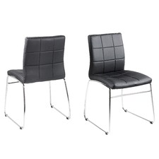 Black PU Leather & Chrome Hot Dining Chairs (Set of 2)