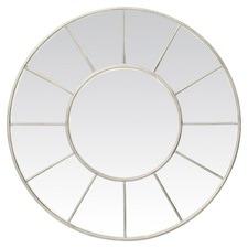 Round Mirror with Panes Cream