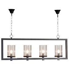 4 Light Iron & Glass Pendant Light