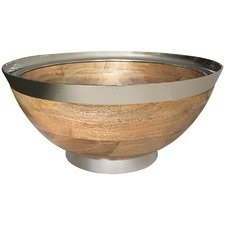 Hammered Nickel & Wood Bowl