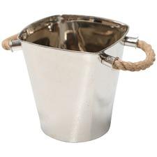 Rectangular Nickel Ice Bucket with Jute Handles
