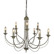 9 Arm Taupe Iron Chandelier