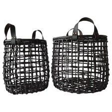 Set of 2 Black Grass & Leather Storage Baskets