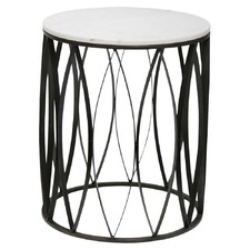 Black Leaf & White Marble Side Table