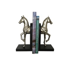 Nickel Horse Bookends with Black Base