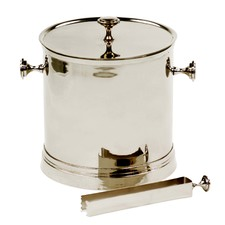 Nickel Ice Bucket & Tongs