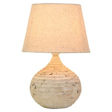 Round Grooved Stone Table Lamp & Shade (Set of 2)