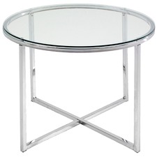 Round Glass Top Polished Side Table