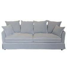 Grey & White Piped Linen 3 Seater Sofa