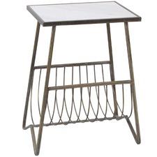 Iron & Marble Magazine Holder Side Table