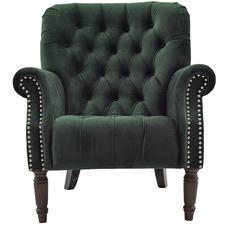 Green Bia Buttoned Velvet Armchair