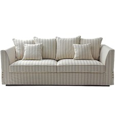 Cream Striped 3 Seater Sofa