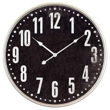 67cm Distressed Black & Nickel Rim Clock