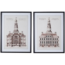 2 Piece Antique Buildings Printed Wall Art Set