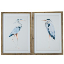 2 Piece Blue Birds Printed Wall Art Set