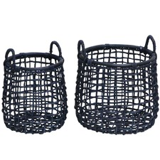 2 Piece Navy Blue Open Weave Basket Set