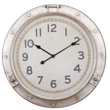 72cm Distressed Nickel Nautical Wall Clock